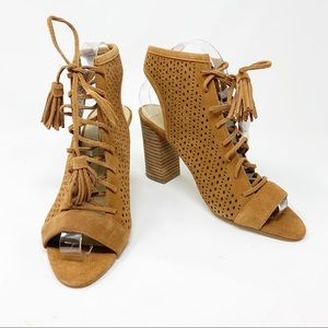 Marc Fisher | Perforated Lace Up Suede Booties